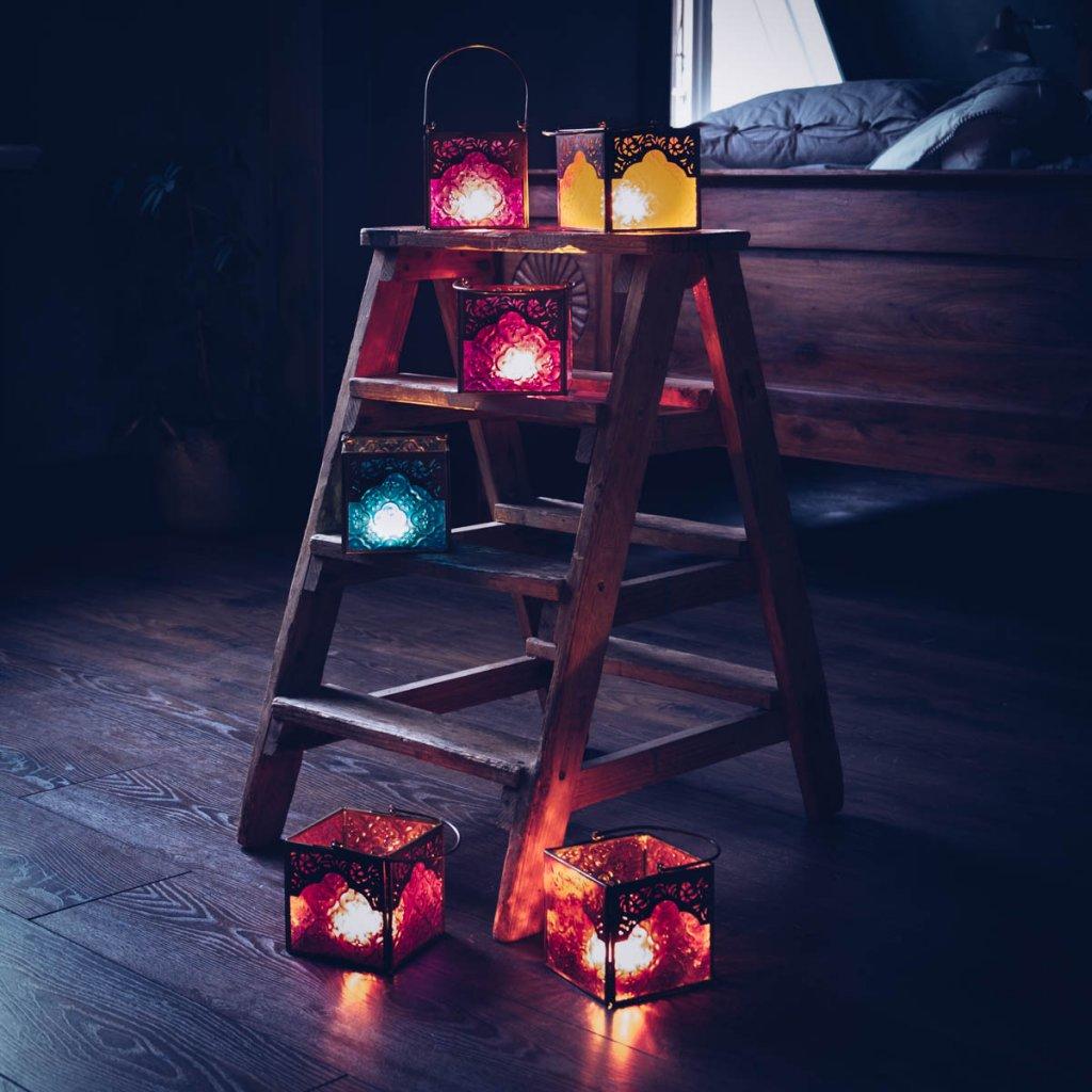 Fyrkantiga Indiska Ljuslyktor Flera Farger